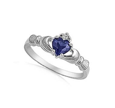 sapphire claddagh ring - 7