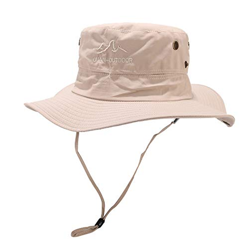 - YQZB Unisex Wide Brim Sun Hat,Outdoor UPF 50+ Waterproof Boonie Hat Summer UV Protection Sun Caps Khaki