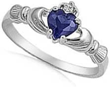 ALL NATURAL GENUINE GEMSTONE- 9MM 2ctw Sterling Silver SEPTEMBER BLUE SAPPHIRE HEART BIRTHSTONE Royal Claddagh Celtic Irish Ring-SIZE 2-13