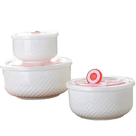 Fiambrera de cerámica en relieve, con tapa y palillos para ...