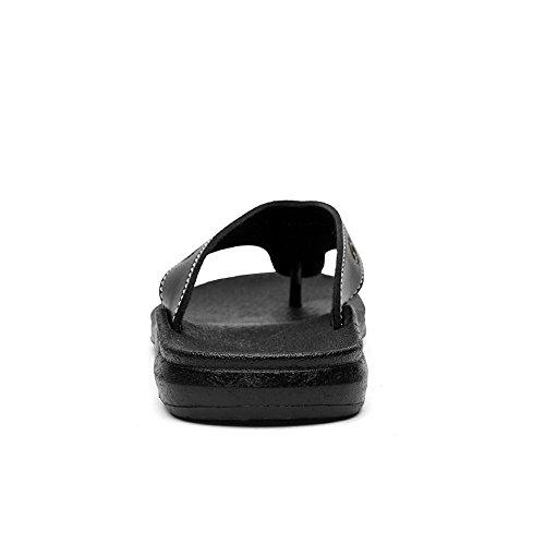 Nero in Color Nero uomo fibbia EU Decorration Jiuyue Dimensione Infradito da uomo con da 42 antiscivolo da Infradito spiaggia Pantofole pelle shoes vera Scarpe 8xH8qUTwg