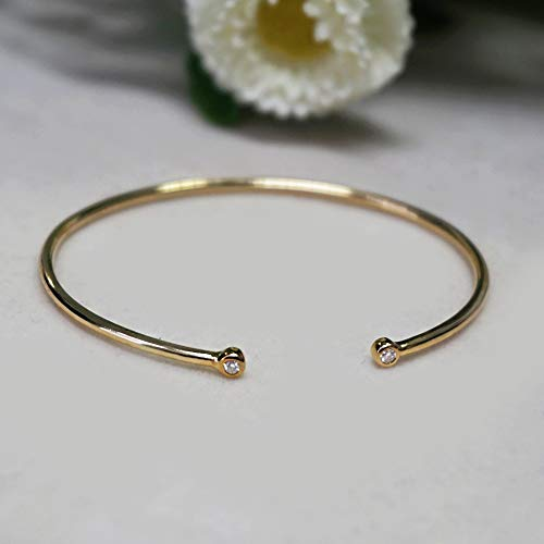 - Natural 0.03 Ct. Diamond Pave Cuff Bangle Bracelet Solid 14k Yellow Gold Handmade I Clarity H Color Fine Jewelry