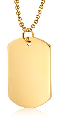 Free Text Engraving Stainless Steel Plain Dog Tag Pendant Necklace for Men, 4828mm/Gold Plated ()