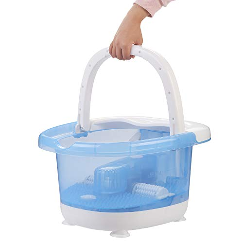 DOIT Large Foot Bath Spa Tub -LCD screen & Thick Sturdy Plastic Foot Basin,Automatic Massage Rollers, Vibration, Bubbles, Digital Adjustabl,Carrying Handle ()