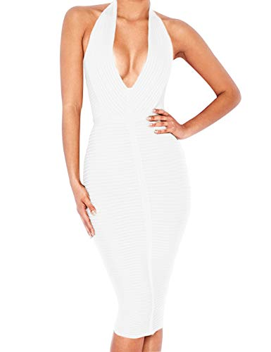 Beacher Zacharias Women's Sexy Deep V Neck Halter Striped Evening Party Club Midi Bandage ()