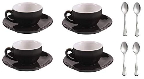 (Nero - Set of 4 Modern Porcelain Black and White Espresso/Demitasse 3.2 Ounce Cups, Saucers, Stainless Steel Spoons, Tableware for Brunch, Dinner, Coffee and Dessert. By Equip)