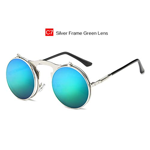 Retro Metal Steam Punk Sunglasses Round Frames Steampunk Flips Sun Glasses Male&Female Vintage Eyewears Silver Green