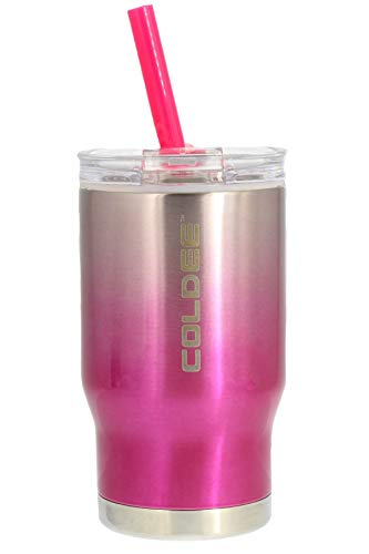 REDUCE COLDEE 14oz Stainless Steel Tumbler - Small Insulated Cup With Straw - Insulated Cups Are Ideal for Toddlers/Kids, Includes Clear Lid and Straw & 3-in-1 Lid - Portable, Fits Car Cupholders