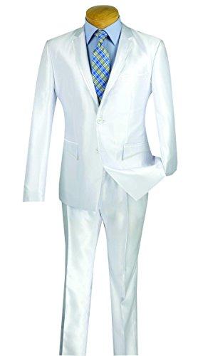 Vinci Men's 2 Button Single Breasted Shark Skin Slim Fit Suit W/Trim - Mens Skin Suit