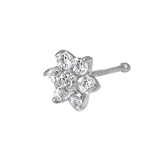 JewelryWeb Solid 14K Yellow or White Gold 4-mm 20 Gauge Cubic Zirconia Flower Nose Stud (White-Gold) ()