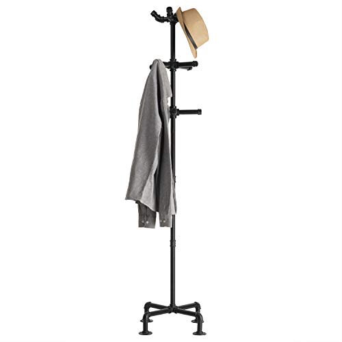 Pipe And Hat (MyGift 65-Inch Industrial Black Metal Pipe 12-Hook Coat)