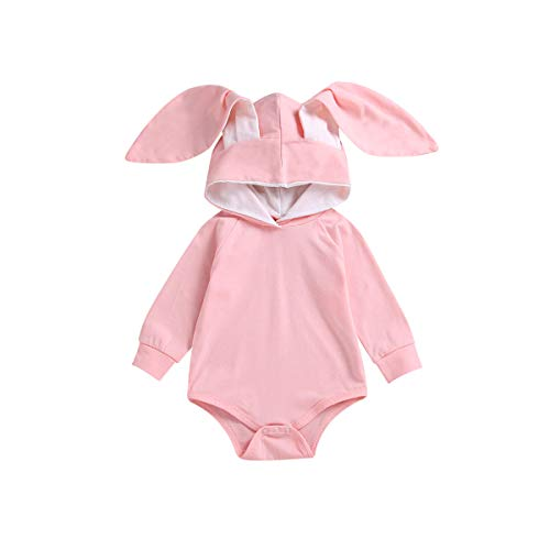 Baby Easter Outfit,Infant Toddler Baby Rabbit Costume Bunny Ears Hoodie Romper (Pink, 6-12Months) ()
