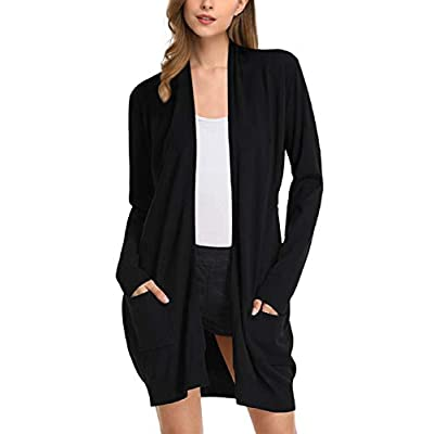 Yesfashion Women Solid Open Front Long Knited Cardigan Sweater at Women's Clothing store