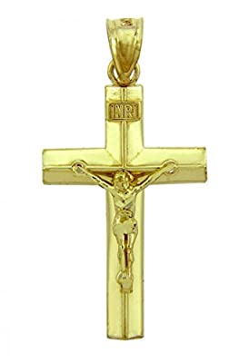 Solid 14k Yellow Gold Linear Cross Charm INRI Crucifix Pendant by Claddagh Gold