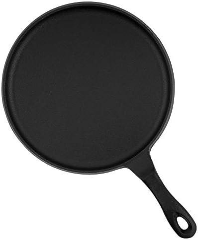 BBQ-Toro Poêle à crêpes en fonte I Ø 26 cm pour barbecue I Noir I déjà brûlé et compatible induction I Pancake Pan pour poêles I