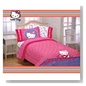 Hello Kitty Girls Twin Comforter & Sheet Set (4 Piece Bedding)