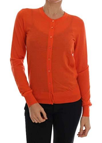 Dolce & Gabbana Orange Cashmere Cardigan Sweater
