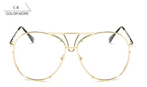 reborde mujeres claro de sol Claro grande sobredimensionado gafas gafas para plata sol piloto nuevo bastidor Señoras ZHANGYUSEN sin azul de mujer oro xwBqHIYn