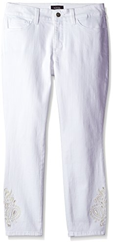 - NYDJ Women's Petite Size Alina Ankle Jeans, Optic White - Eyelet Embroidery, 12P