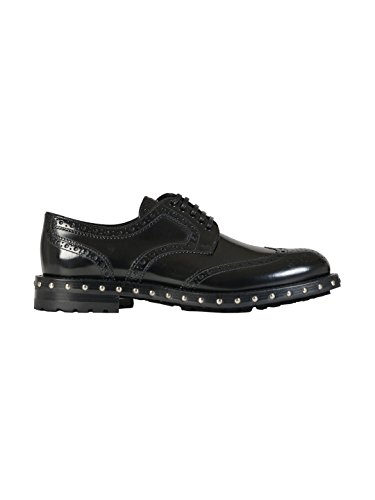 DOLCE E GABBANA WOMEN'S CN0028AC80180999 BLACK LEATHER LACE-UP SHOES