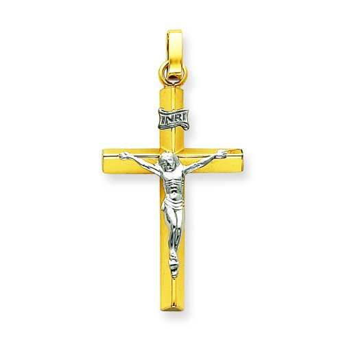 14K Two Tone Gold INRI Crucifix Pendant Jewelry (Two Tone Inri Hollow Crucifix)