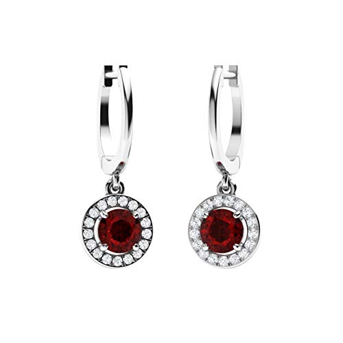 Diamondere Natural and Certified Garnet and Diamond Drop Huggies Earrings in 14K White Gold | 1.38 Carat Halo Earrings for - 1.38 Ct Natural