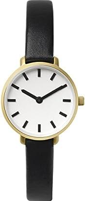 BREDA Women's 'Beverly' 1730b Silver Round Fashion Analog Display Quartz with Black Leather Strap Wrist Watch, 25mm