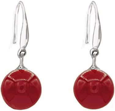 Red Ball Shell Pearl dDrop Earrings with Sterling Silver Hook