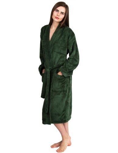 TowelSelections Women's Plush Robe Soft Fleece Kimono Bathrobe Small/Medium Hunter Green