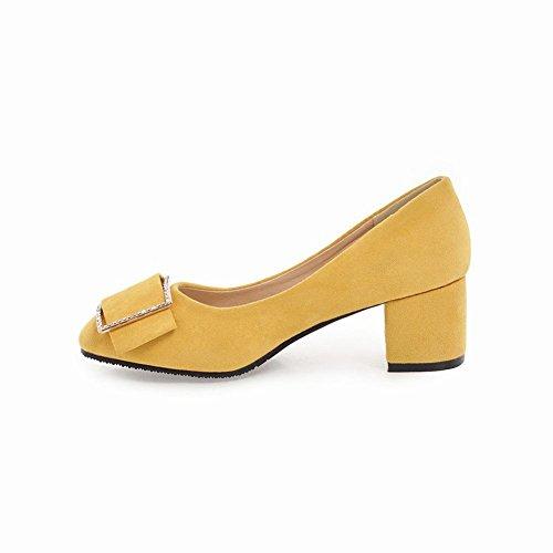 Carolbar Womens Square Punta Strass Sweet Shoes Dress Shoes Giallo