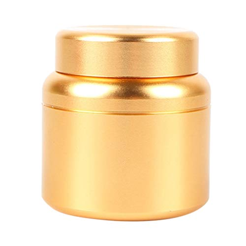 (Prettyia Small Aluminum Storage Box Coffee Tea Tins Canisters With Airtight Lids 80ML - Gold)