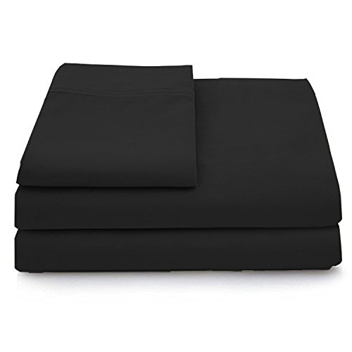 Cosy House Collection Luxury Bamboo Bed Sheet Set – Hypoallergenic Bedding Blend from Natural Bamboo Fiber – Resists Wrinkles – 3 Piece – 1 Fitted Sheet, 1 Flat, 1 Pillowcase – Twin XL, Black