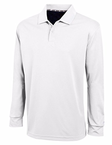 Champion Men's Ultimate Double Dry Long Sleeve Polo, S-White (Champions Polo)