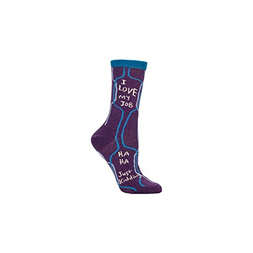 Blue Q Women's Novelty Crew Socks - (Womens Size 5-10) with Sock Ring