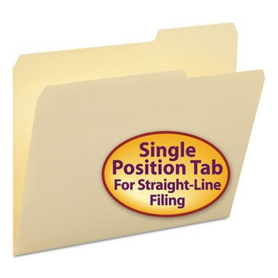 (Guide Height File Folders, 2/5 Cut Right Top Tab, Letter, Manila, 100/Box)