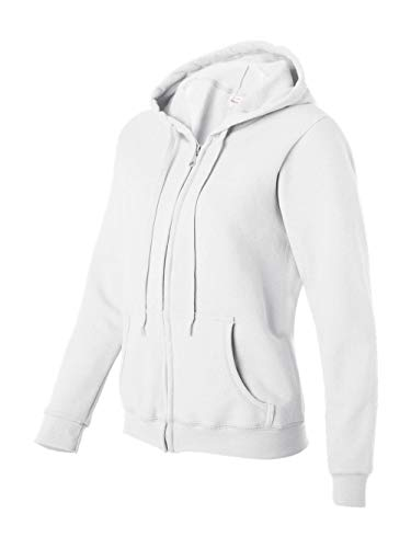 Gildan Women's Blend Full Zip Hooded Pouch Pocket Sweatshirt, White, Large ()
