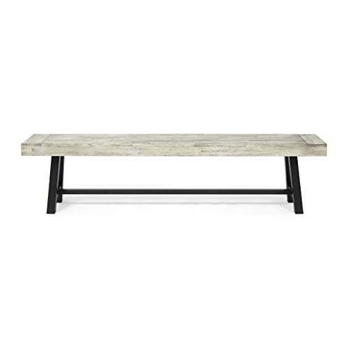 Great Deal Furniture Marian Outdoor Acacia Wood Bench, Sandblast Light Gray Wash and Black Metal