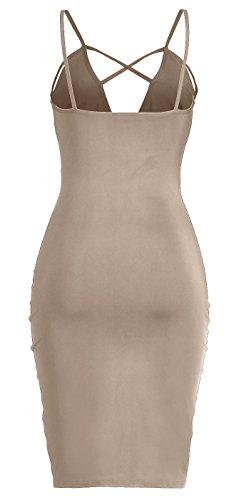 Strap Apricot Dress Backless V Spaghetti Bandage Blansdi Neck Women Midi Bodycon Party aH4qp