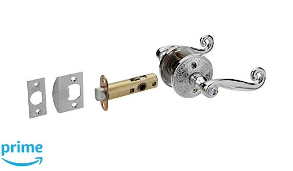 Lancaster Door Set With Scroll Design Levers Right Hand Passage In Polished Chrome Reproduction Doorknob.