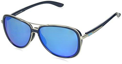 Oakley Women's OO4129 Split Time Aviator Metal Sunglasses, Navy/Prizm Sapphire Polarized, 58 mm ()