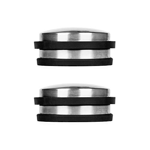 Floor Mount Door Stop - FLORA GUARD Brushed Stainless Steel Cylindrical Stopper Premium with Rubber Treads (2-Pack) ()