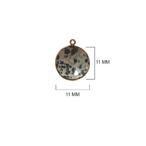 Dalmatian Jasper Beads 11MM - BESTINBEADS - Dalmatian Jasper Stone - Dalmatian Jasper Coin 11MM Gold Bezel Single Loop - Bezel Connectors - Bezel Pendant - Dalmatian Jasper Pendant - (Jasper Coin Pendant Beads)