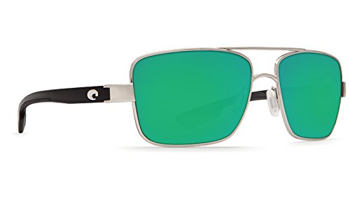Costa Del Mar North Turn Sunglasses Palladium/Shiny Black / Green Mirror - North Turn