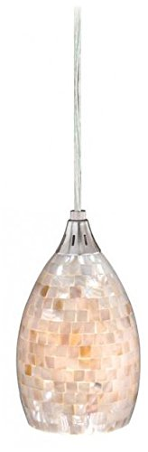 Vaxcel PD53206SN Milano Mini Pendant with Mosaic Shell Glass, 4-1/2