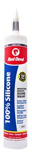 (Red Devil 081650 Architectural Grade 50 Year 100% Silicone Sealant, Gray, 9.8 oz Cartridge)
