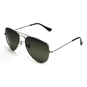 Samba Shades Unisex Classic Aviator Sunglasses Silver Frame Green Lens - Glen & Ivy Sky Inspired
