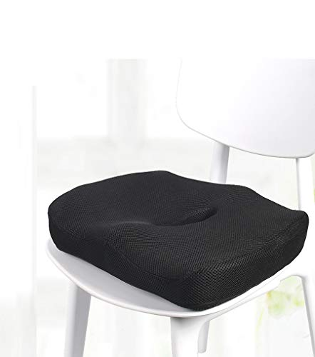 Ido4U Memory Foam Seat Cushion with Center Hollow Design Portable Handle Nonslip Seat Cushion Pad for Car Office Chairs Relieves Back Pain (Mesh Cover)