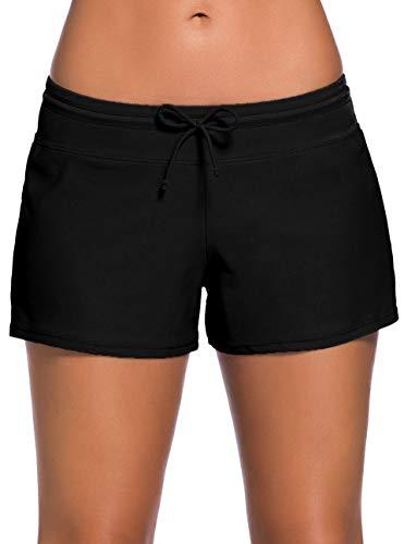 Ocean Plus Damen Unifarben Badeshorts mit Verstellbarem Tunnelzug Wassersport UV-Schutz Bikinihose Boardshorts Hotpants