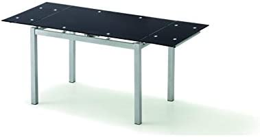 KITKAY Mesa Rectangular Extensible Cristal Negro: Amazon.es: Hogar