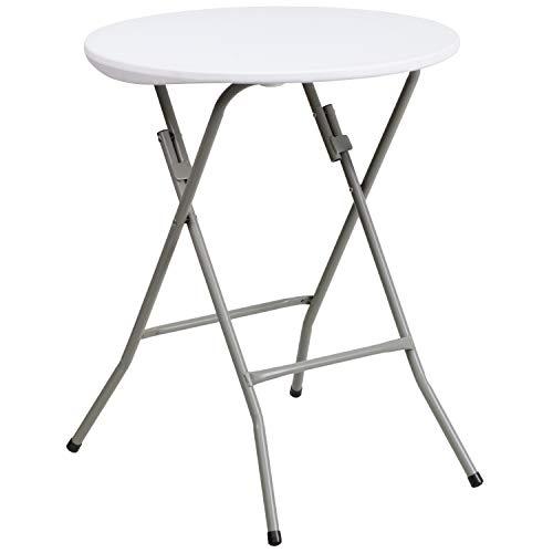 Flash Furniture 24'' Round Granite White Plastic Folding Table - DAD-YCZ-80R-1-SM-GW-GG